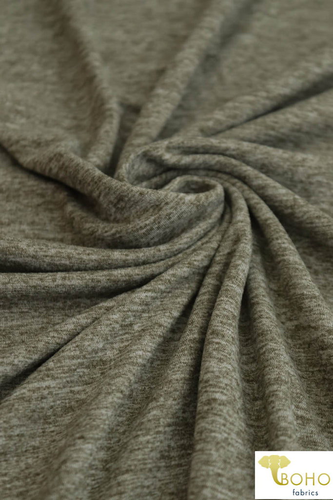 DBP Space Dye: Heather/2-Tone Olive Green. Double Brushed Poly Knit Fabric. BP-119-GRN