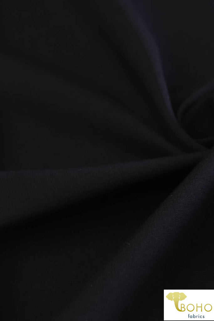 Black. Ponte Di Roma Double Knit Fabric. PNT-103