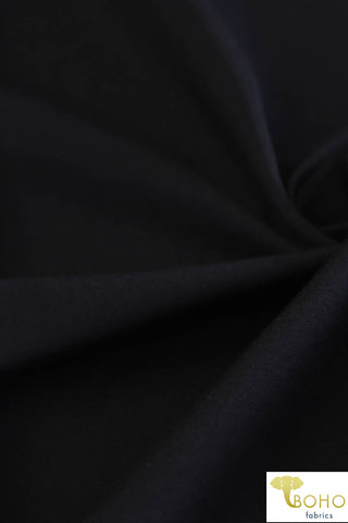 Jet Black. Ponte Di Roma Double Knit Fabric. PNT-102