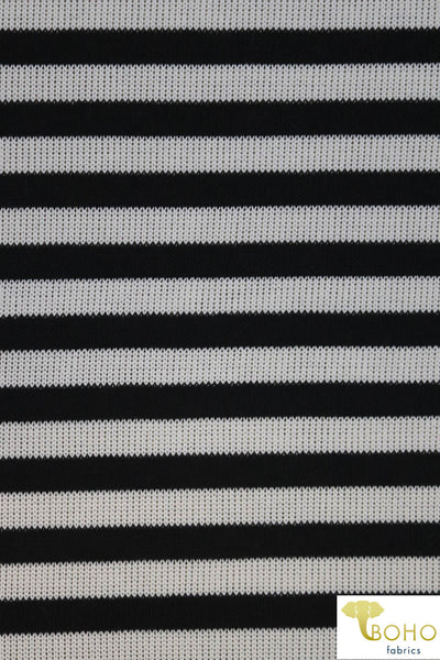 Black & White Stripes. Printed Looseweave Sweater Knit. SWTR-172
