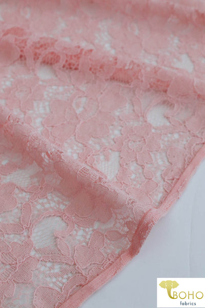 Rosey Gardens in Pink. Cotton Lace Woven Fabric. WV-146-PNK
