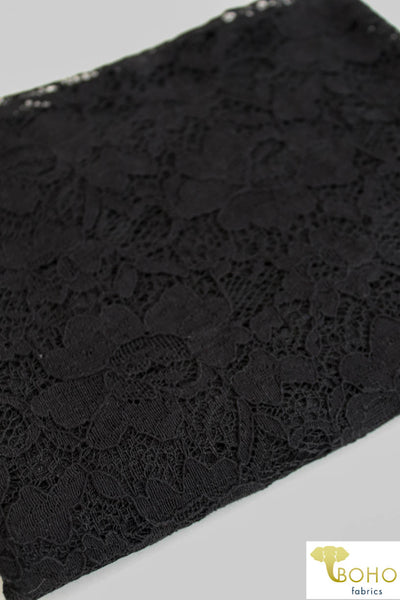 Rosey Gardens in Black. Cotton Lace Woven Fabric. WV-146-BLK