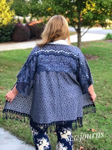 Classic Textured Lace In Blue. Cotton Blend Woven Fabric. Designer End Bolt