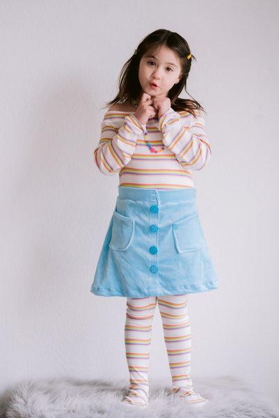 Rainbow Stripes in Muted Color Palette Rib Knit. RIB-124