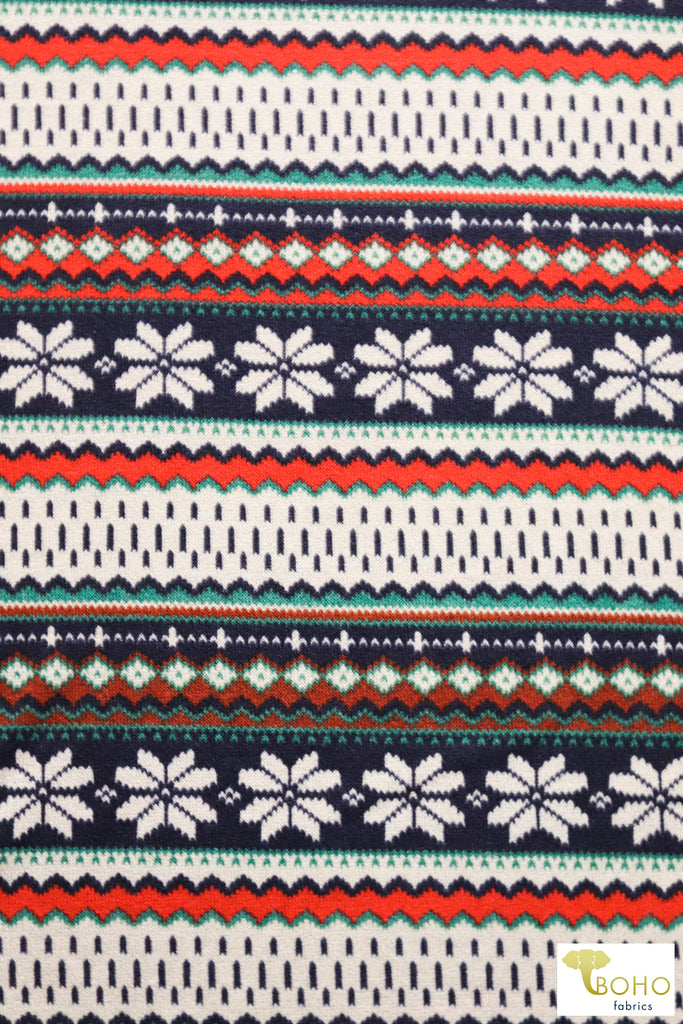 Classic Nordic Snowflake in Red/Green/Blue Sweater Knit.  PRSW-101-GRN