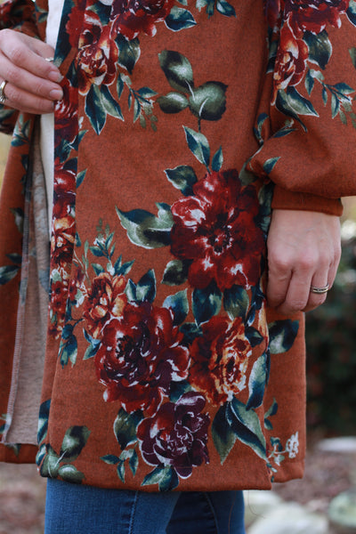 Sunset Floral Bouquet on Rust. Printed Sweater Knit. SWTR-129