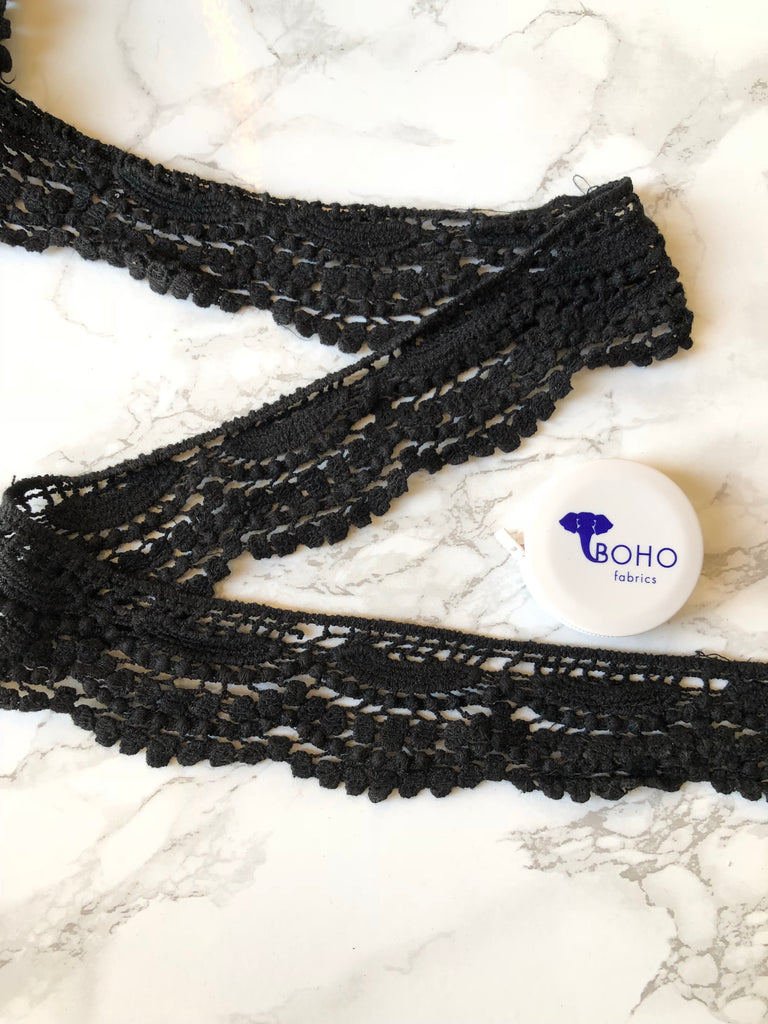 Boho Waves. Black Woven Lace Trim, 2""