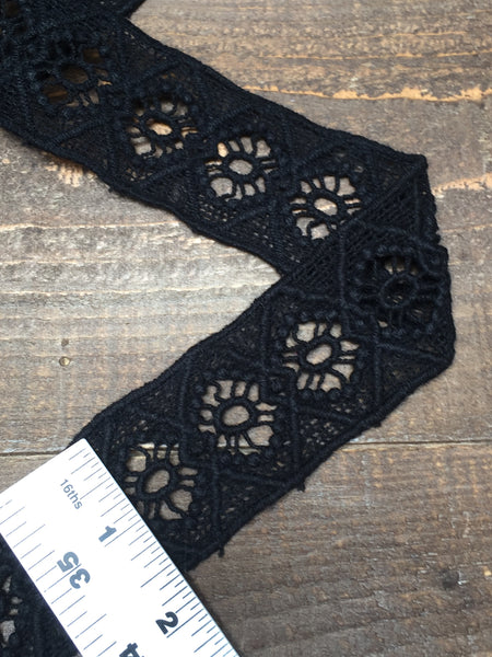 Black Geometric Diamond Boho Border Trim, 2""