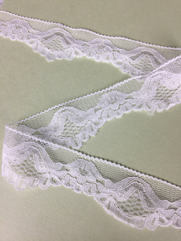"""Elegance"" in White Stretch Lace Elastic Trim, 1"""
