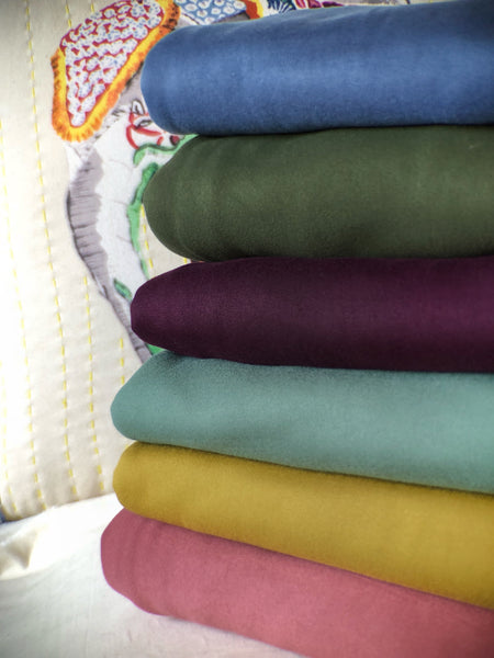 Jewel Tones, Lust Double Brushed Knit Solids; Dusty Blue, Olive Green, Plum Purple, Dusty Sage Green, Mustard Gold, Dusty Coral