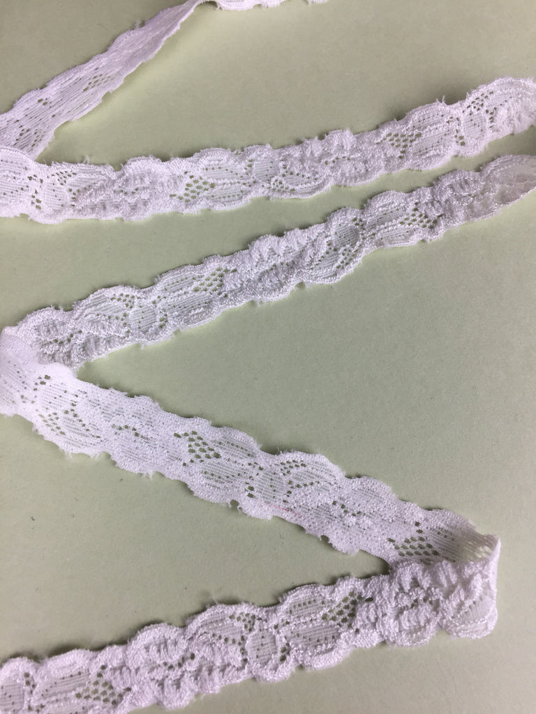 Plush White Floral Stretch Lace Lingerie Elastic 3/4""