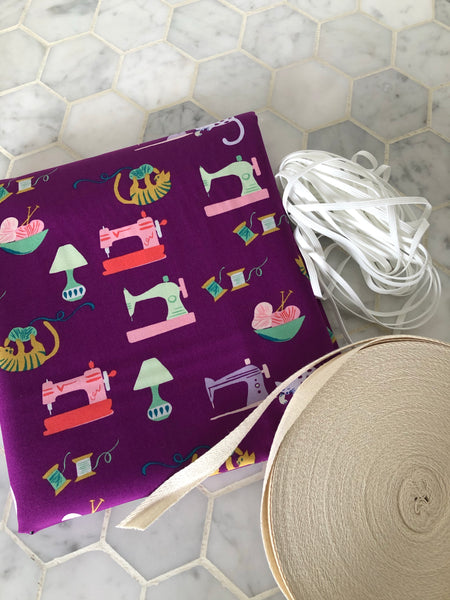 """Saturday Sewing"" Mask Making Kit.  2 Yards 100% Organic Cotton Woven Fabric, 50 Yards Twill Tape, 10 Yds 3/16"" White Elastic"