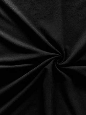 Black Cotton French Terry Knit Fabric