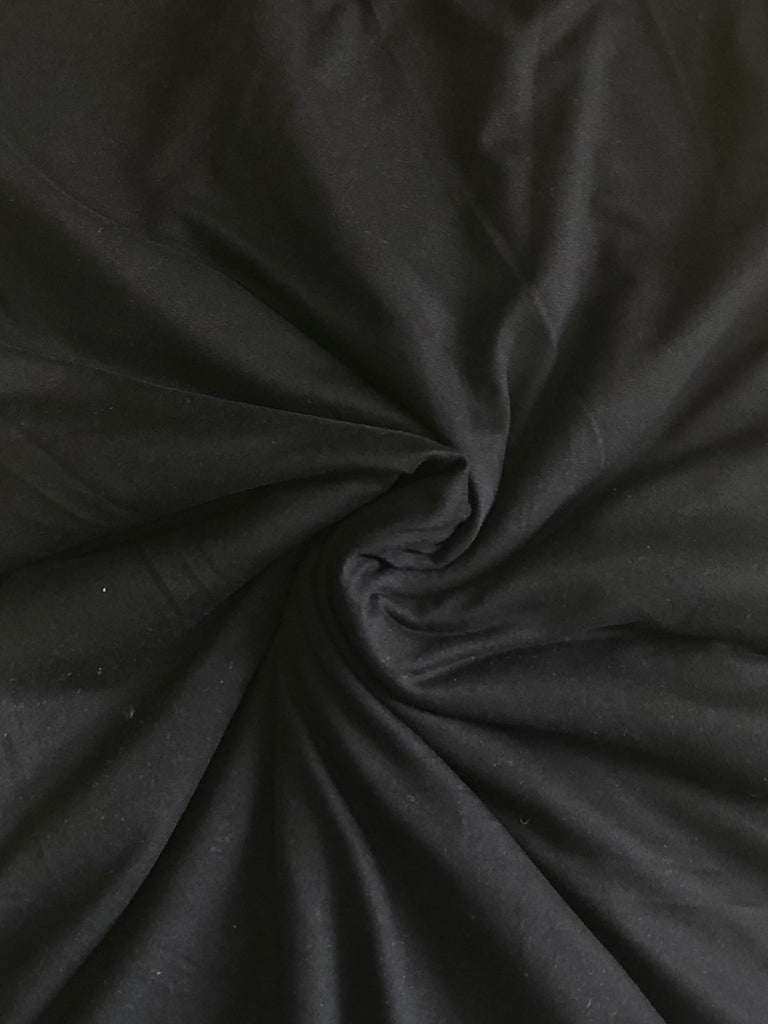 Double Brushed Poly Solid Knit Fabric: Black