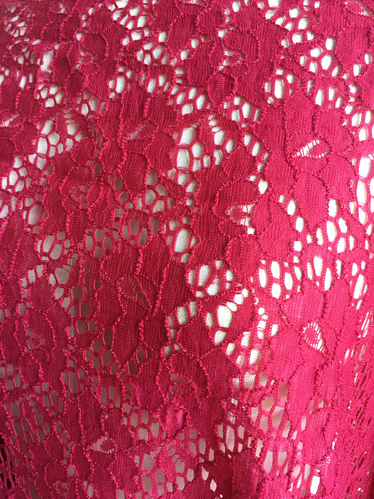 Stretch Lace In Red. Floral Stretch Lace Knit Fabric. Designer End Bolt
