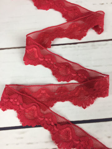 """Elegance"" in Red Stretch Lace Elastic Trim, 1"""