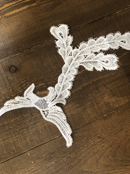 Peacock Plumage. White Applique.  Style #WA-08
