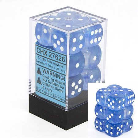 Chessex Borealis - Sky Blue/White - 12 D6 | SKYFOX GAMES