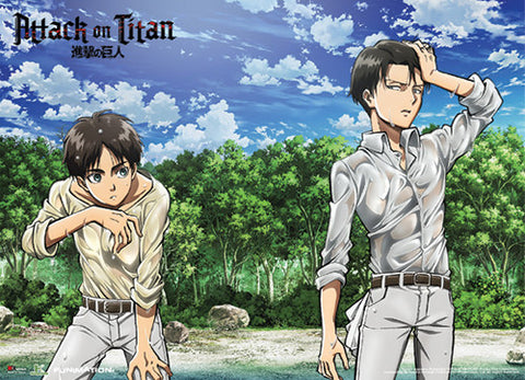 ATTACK ON TITAN - EREN AND LEVI ON THE SHORE SPECIAL EDITION WALLSCROLL
