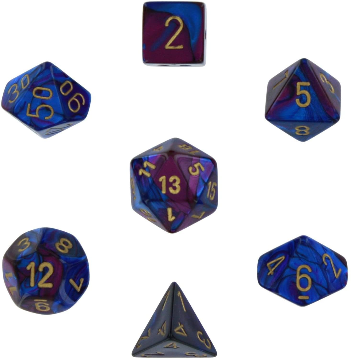 Chessex Gemini - Blue-Purple/Gold - 7 Dice Set | SKYFOX GAMES