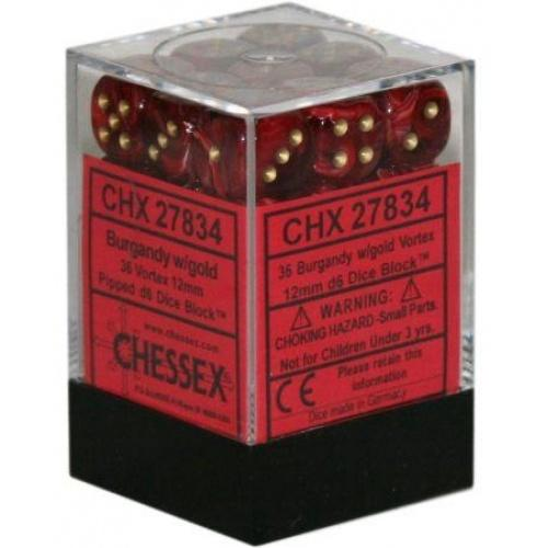 Chessex Vortex - Burgundy/Gold - 36 D6 Dice Block | SKYFOX GAMES