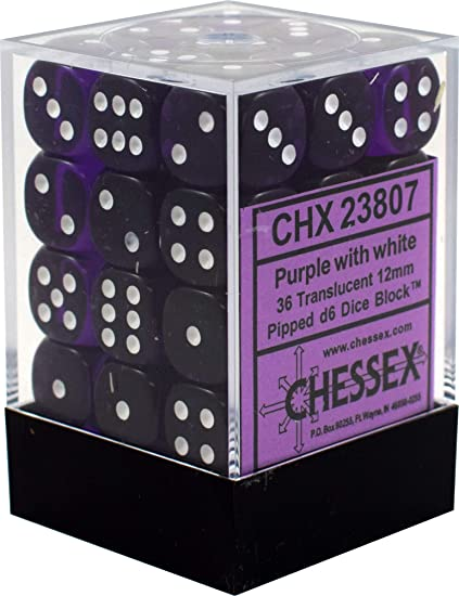 Chessex - Translucent - Purple/white - 36 D6 Dice Block | SKYFOX GAMES