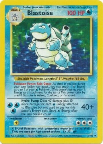 Copy of Blastoise Unlimited (Moderate Play) 2/102