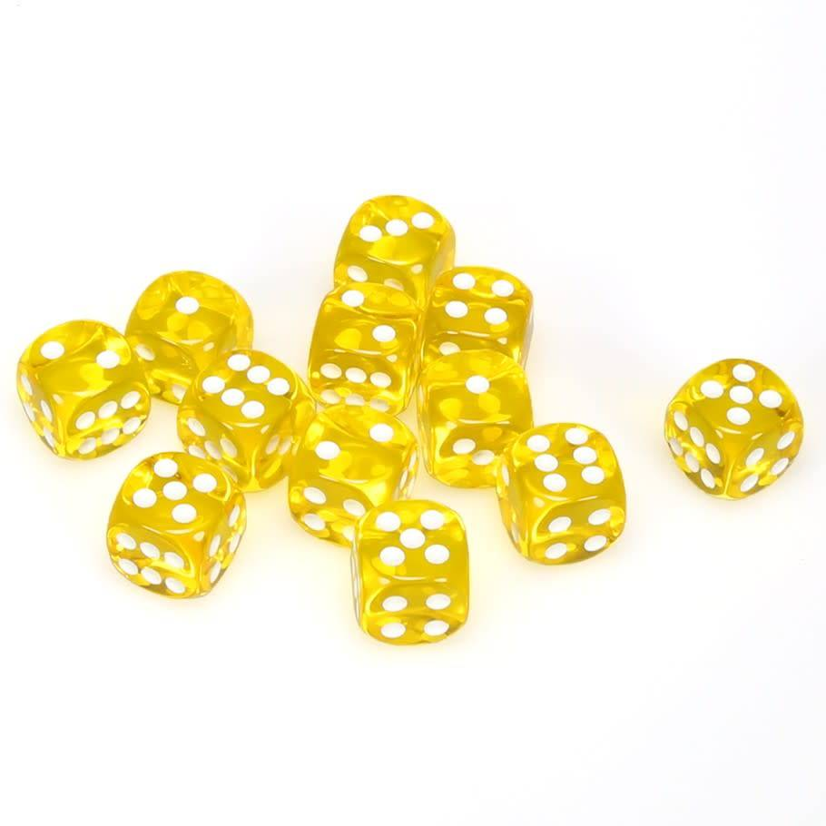 Chessex Translucent - Yellow With White Dice Block - 12 D6 | SKYFOX GAMES