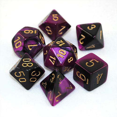 Chessex Gemini - Black-Purple/Gold - 7 Dice | SKYFOX GAMES