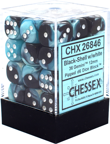 Chessex - Gemini - Black-Shell/white - 36 D6 Dice Block | SKYFOX GAMES