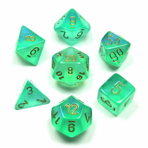 Chessex Borealis - Light Green/Gold - 7 Dice