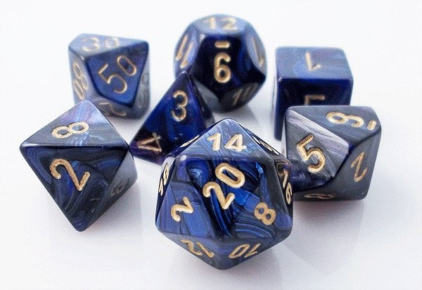 Chessex Scarab - Royal Blue/Gold - 7 Dice | SKYFOX GAMES