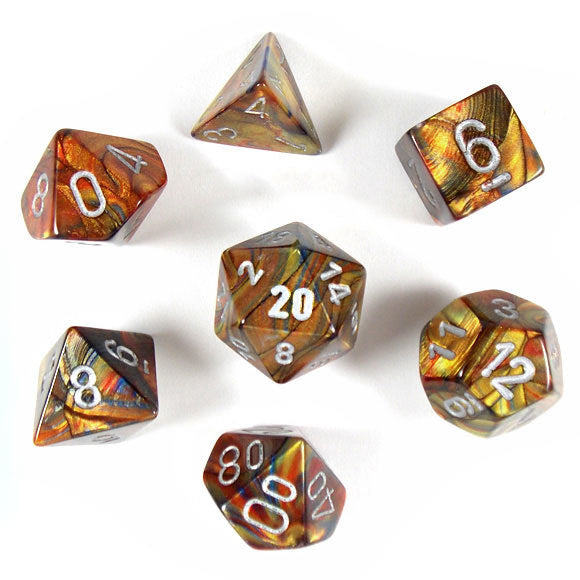 Chessex Lustrous - Gold/Silver - 7 Dice | SKYFOX GAMES