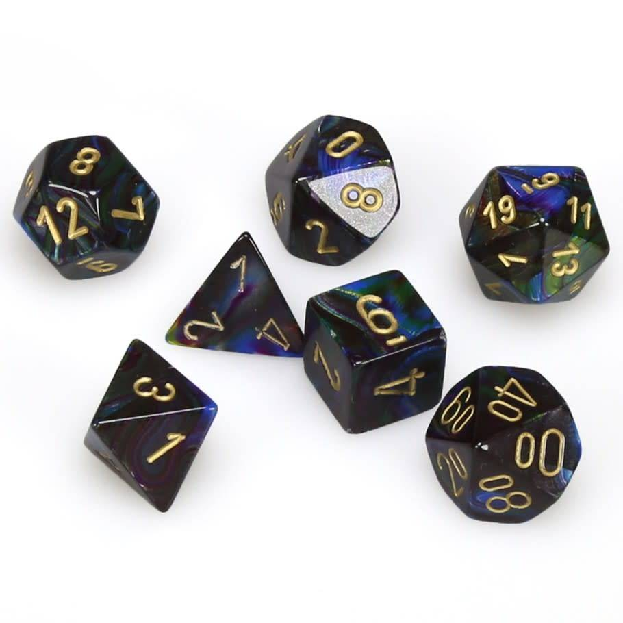 Chessex Lustrous - Shadow/Gold - 7 Dice | SKYFOX GAMES