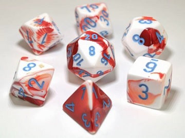 Chessex Gemini - Red-White/Blue - 7 Dice | SKYFOX GAMES
