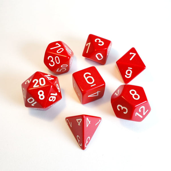 Chessex Opaque - Red/White - 7 Dice Set