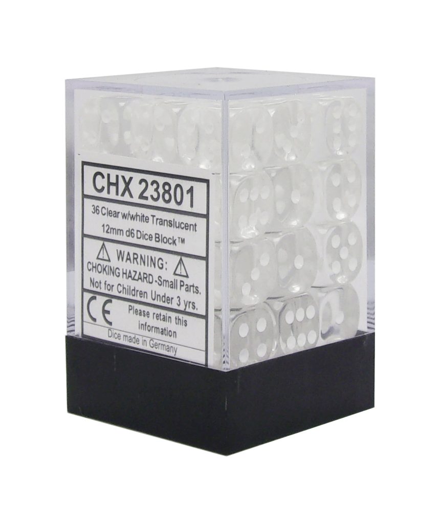 Chessex Translucent - Clear/White - 36 D6 Dice Block | SKYFOX GAMES