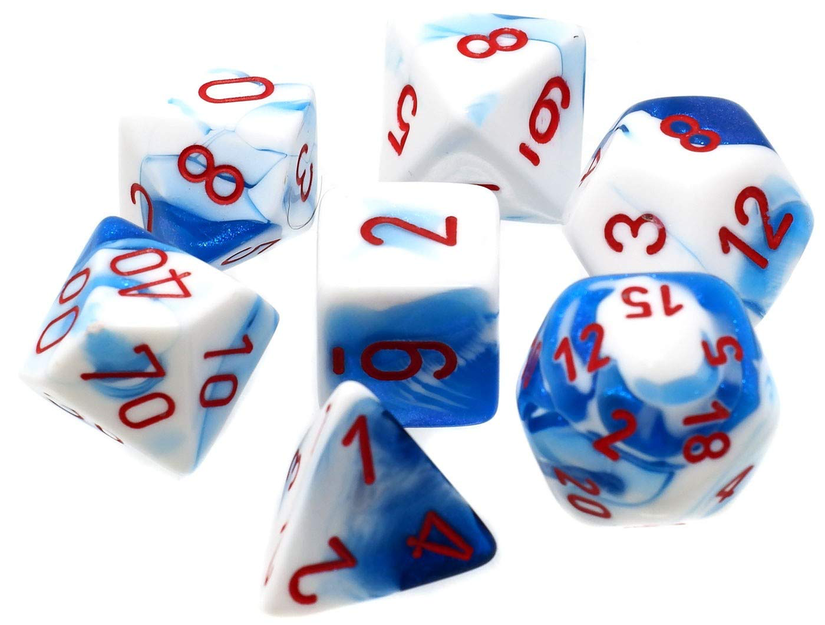 Chessex Gemini - Astral Blue-White/Red - 7 Dice Set | SKYFOX GAMES