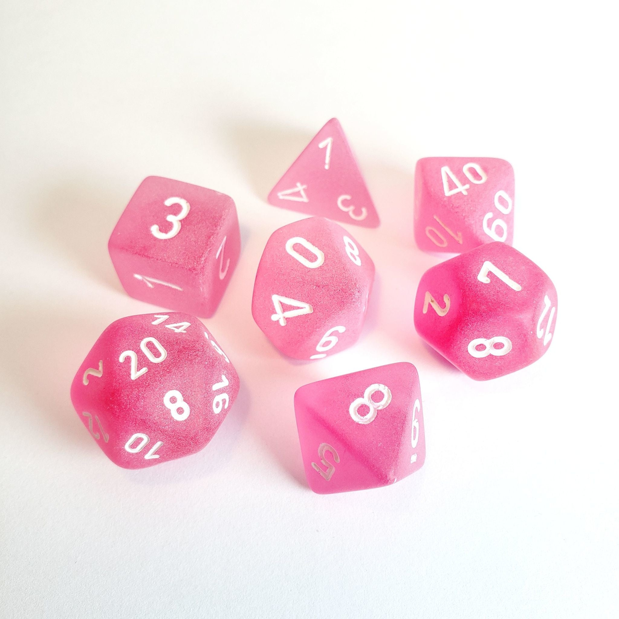 Chessex Frosted - Pink/White - 7 Dice Set | SKYFOX GAMES