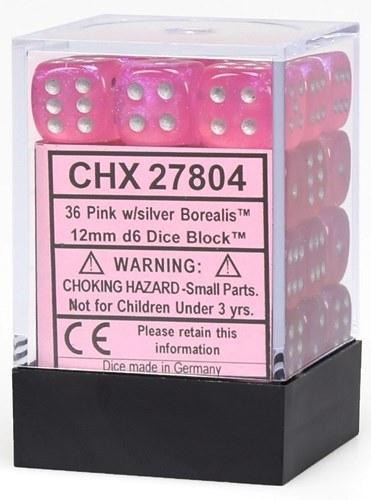 Chessex Borealis - Pink/Silver - 36 D6 Dice Block