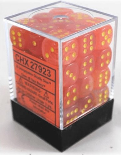 Chessex Ghostly Glow - Orange/Yellow - 36 D6 Dice Block | SKYFOX GAMES