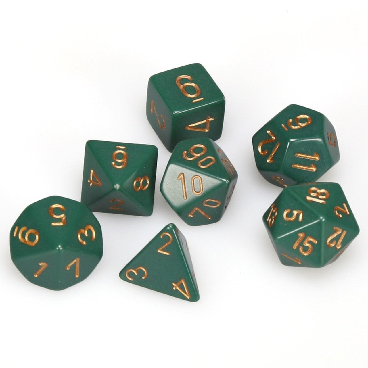 Chessex Opaque - Dusty Green/Copper - 7 Dice Set | SKYFOX GAMES