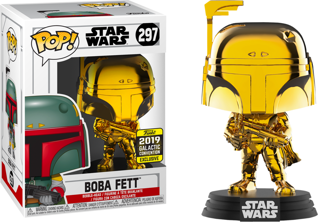 Funko Pop! Star Wars: Boba Fett #297 (Gold Chrome) (2019 Galactic Convention Exclusive) | SKYFOX GAMES