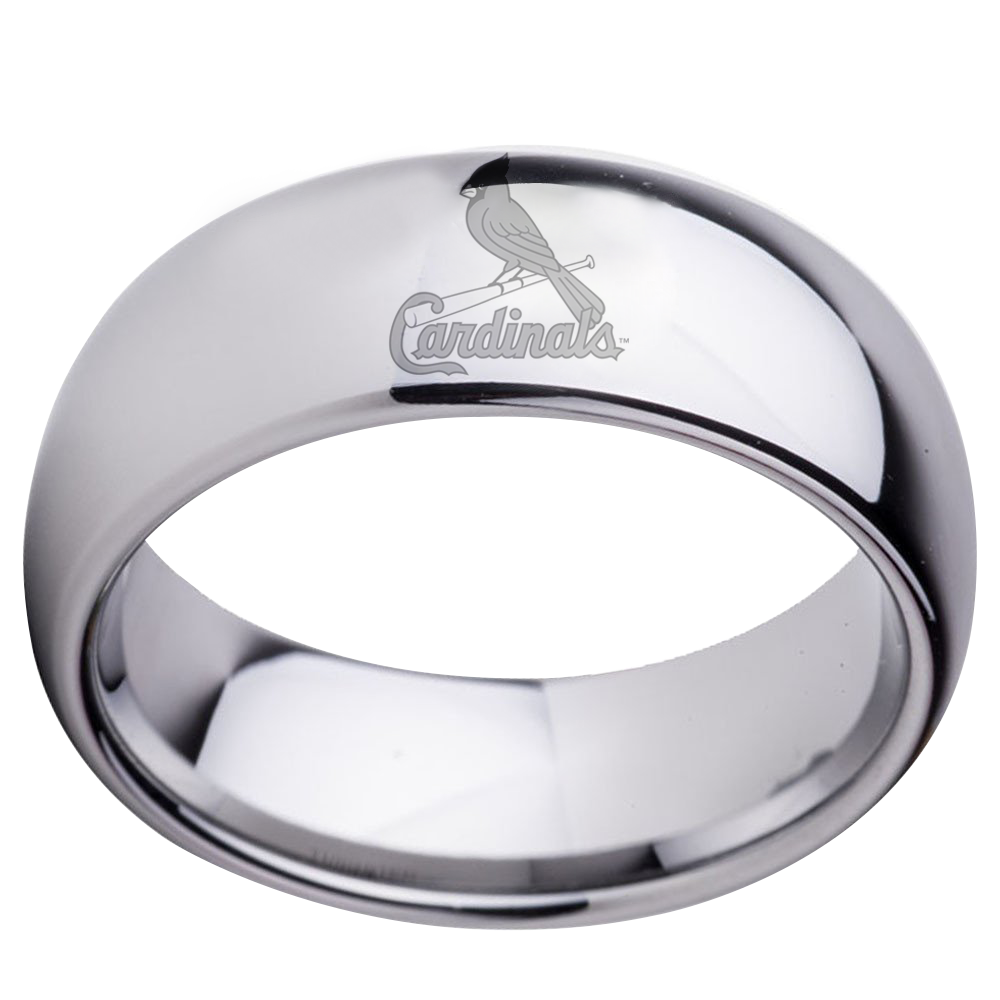 St Louis Cardinals Dome Silver Wedding Band CrazyCoolCustomTees