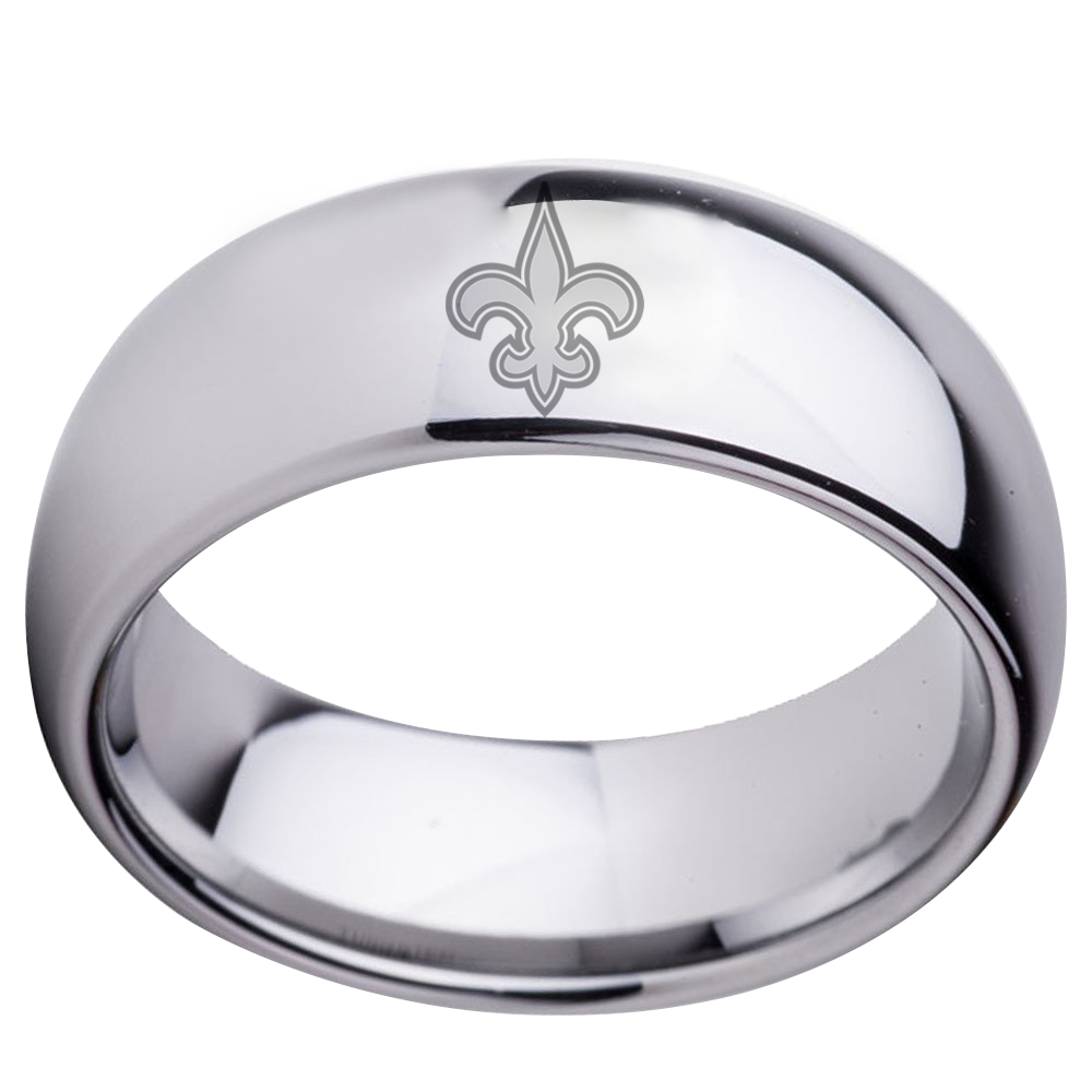New Orleans Saints dome silver wedding band – CrazyCoolCustomTees