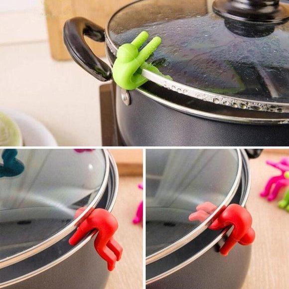 1pc Creative Small Man Anti-overflow Pot Rack Silicone Multi-functional Phone Bracket Universial Home Kit Kitchen Cooking Tool