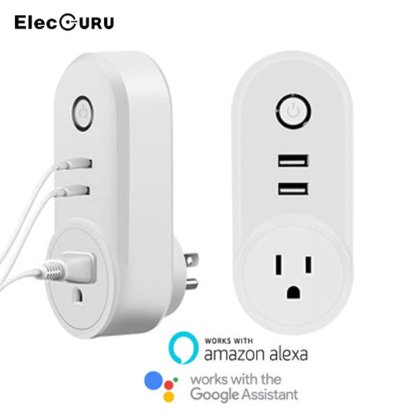 2 USB Ports Wifi Socket Smart Plug For Google Home/Amazon Alexa Smart Outlet Phone Remote Control Timing Switch EU/US/UK Plug