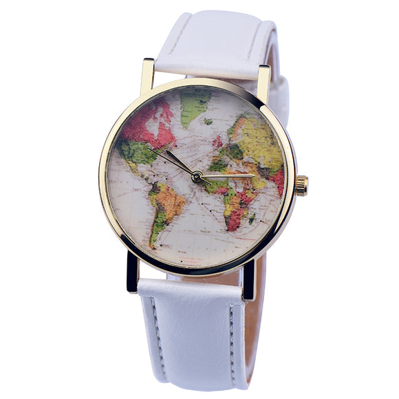 2016 Wholesale Women Girl Pattern World Map Watch Quartz Faux Leather Analog Wrist Watches 10pcs - reyes shop store