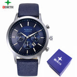 2017 Mens Watches NORTH Brand Luxury Casual Military Quartz Sports Wristwatch Leather Strap Male Clock watch relogio masculino - reyes shop store