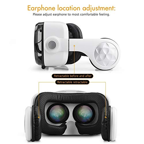 new concept d6ba1 311b6 Virtual Reality Headset,Osloon 3D VR Glasses w/Stereo Headphone,Compatible  4.7-6.2 inch iPhone/Android Phone,Including iPhone ...